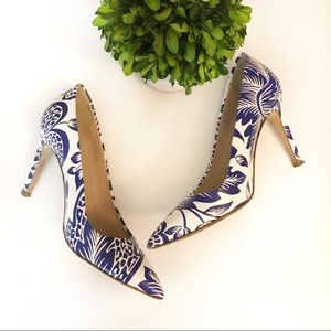 J. Crew Falsetto Blue Floral Heels Size 6 Leather